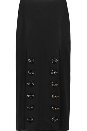ELLERY Snake Eyes button-embellished crepe de chine midi skirt