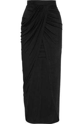 BALMAIN Wrap-effect jersey midi skirt