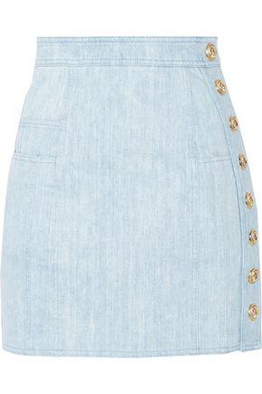 BALMAIN Button-detailed denim mini skirt