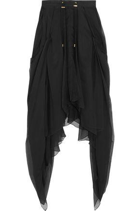 BALMAIN Asymmetric silk-chiffon maxi skirt
