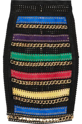 BALMAIN Embellished suede-paneled embroidered tulle skirt