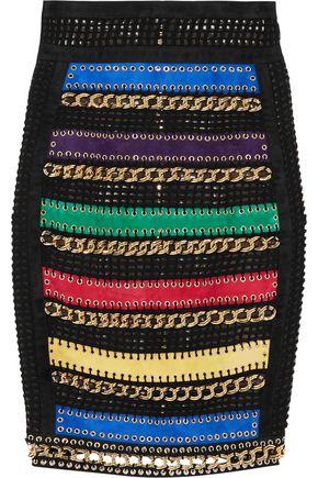 BALMAIN Embellished suede-paneled embroidered tulle skirt