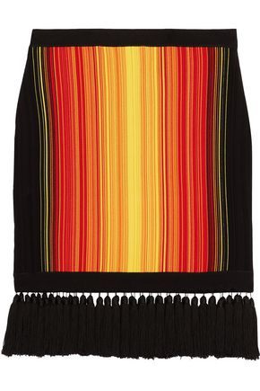 BALMAIN Fringed-trimmed striped stretch-knit mini skirt