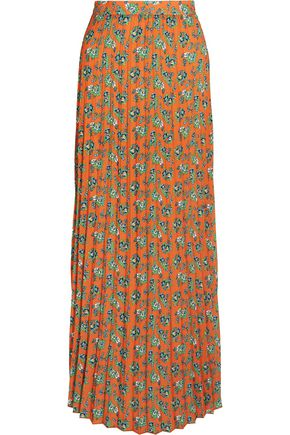 HOUSE OF HOLLAND Pleated floral-print crepe maxi skirt