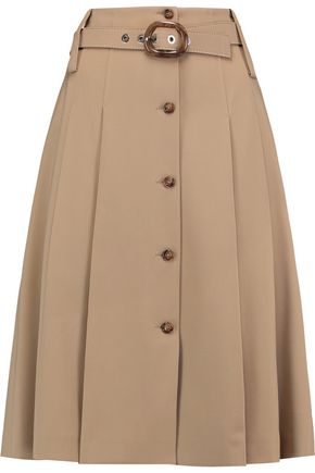 MICHAEL KORS COLLECTION Belted pleated wool-blend twill skirt