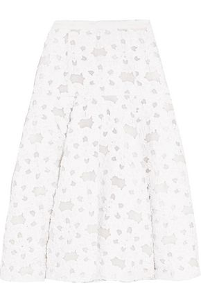 MICHAEL KORS COLLECTION Appliquéd silk-georgette midi skirt