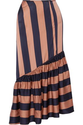 STELLA McCARTNEY Betty asymmetric striped satin midi skirt