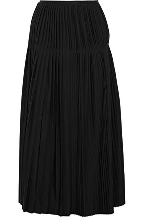 STELLA McCARTNEY Antonella wrap-effect pleated wool-crepe midi skirt