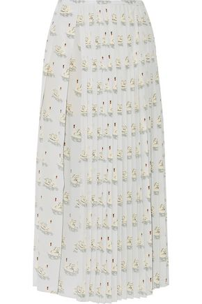 STELLA McCARTNEY Domiziana pleated printed silk crepe de chine midi skirt
