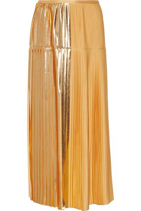 STELLA McCARTNEY Antonella pleated lamé-paneled crepe midi skirt