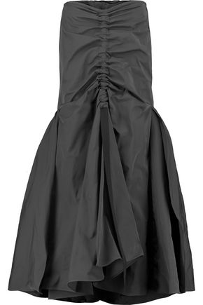 ELLERY Grosgrain-trimmed ruched twill maxi skirt