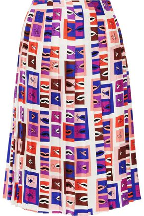 EMILIO PUCCI Pleated printed silk-twill skirt