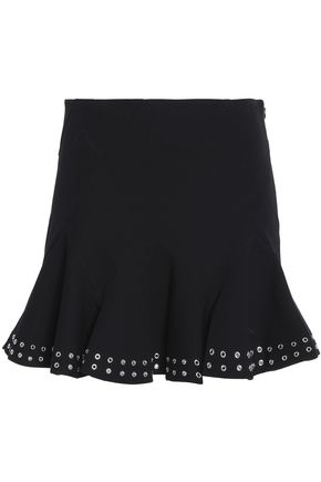 DEREK LAM 10 CROSBY Pleated eyelet-embellished stretch-cotton mini skirt