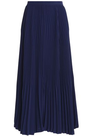 THEORY Laire pleated crepe midi skirt