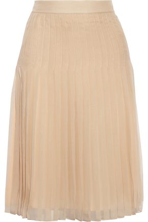 GIVENCHY Pleated skirt in beige silk-chiffon