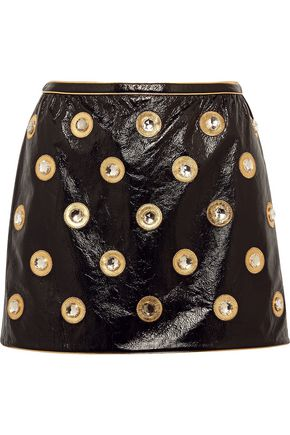 MARC JACOBS Embellished patent-leather mini skirt