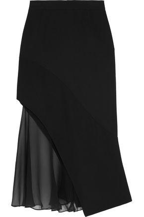 GIVENCHY Midi skirt in black crepe and silk-chiffon