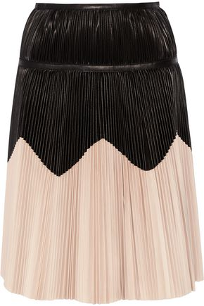 ALEXANDER MCQUEEN Pleated two-tone leather skirt