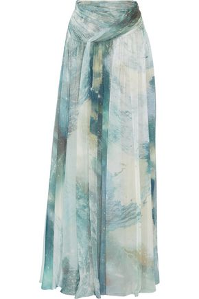 MATTHEW WILLIAMSON Gathered printed silk-chiffon maxi skirt