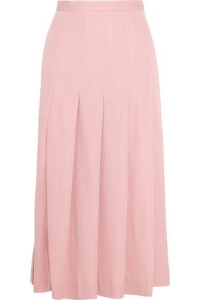 MOTHER OF PEARL Dune pleated stretch wool-blend midi skirt