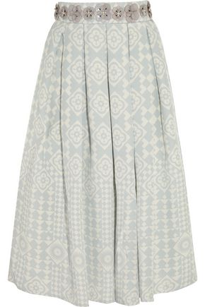 HOLLY FULTON Embellished silk-crepe skirt