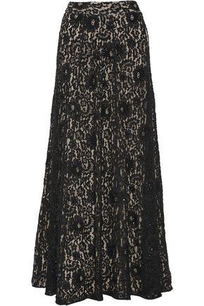 ALICE + OLIVIA Issa embellished lace maxi skirt