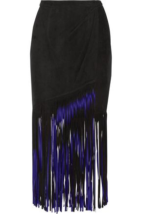 TAMARA MELLON Wrap-effect fringed suede midi skirt