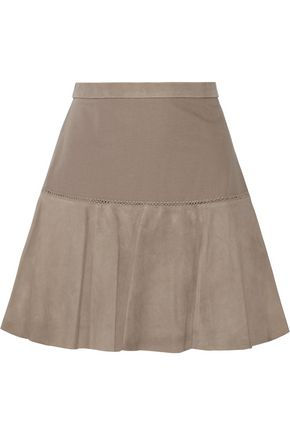 HALSTON HERITAGE Suede and jersey mini skirt