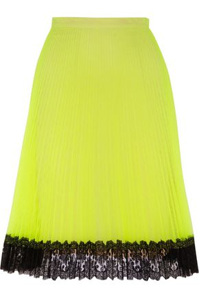 CHRISTOPHER KANE Lace-trimmed pleated tulle skirt