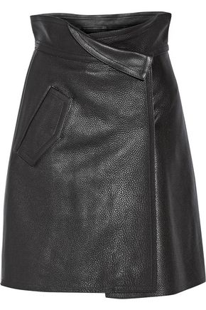 VICTORIA, VICTORIA BECKHAM Wrap-effect textured-leather skirt