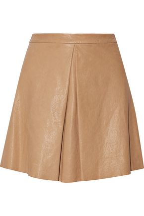 ALICE + OLIVIA Russo pleated leather mini skirt