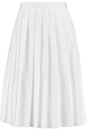 JOSEPH Pleated cotton-poplin skirt