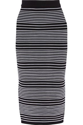 DION LEE Striped stretch-knit skirt