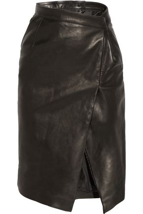 VETEMENTS Wrap-effect leather pencil skirt