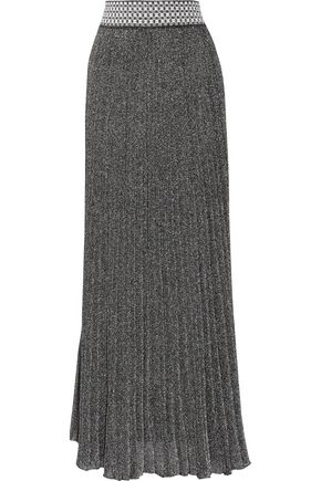 MISSONI Pleated metallic knitted maxi skirt