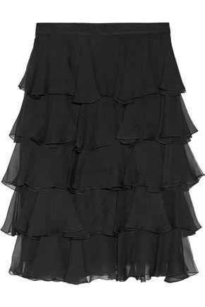 BALMAIN Ruffled silk-georgette skirt