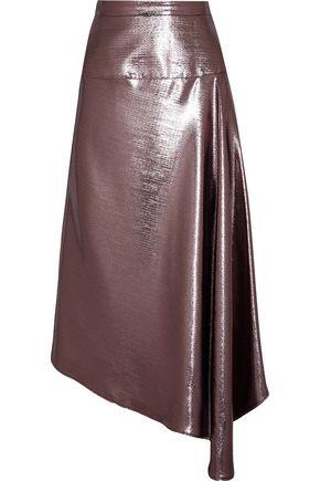 ROLAND MOURET Piper asymmetric draped lamé midi skirt