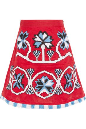 MARCH 11 Aliona embroidered linen mini skirt