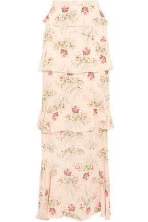 VILSHENKO Jasmine tiered printed silk-georgette maxi skirt