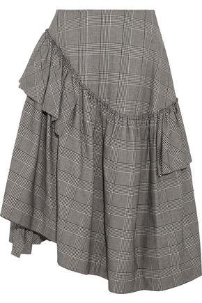 SIMONE ROCHA Asymmetric ruffled Prince of Wales checked cotton-blend midi skirt