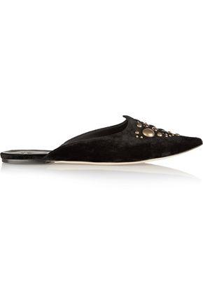 TOMAS MAIER Studded velvet slippers