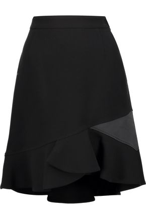 EMILIO PUCCI Satin-trimmed textured wool-blend mini skirt