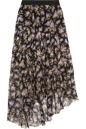 ZIMMERMANN Asymmetric tiered printed crinkled silk-chiffon skirt