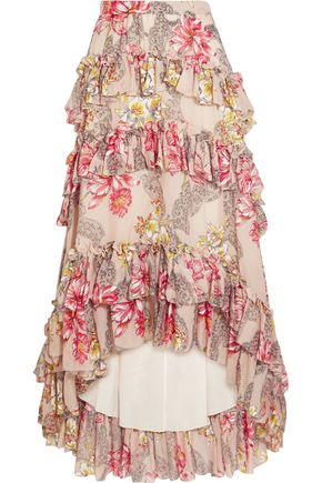 PHILOSOPHY di LORENZO SERAFINI Tiered ruffled floral-print cotton and silk-blend maxi skirt