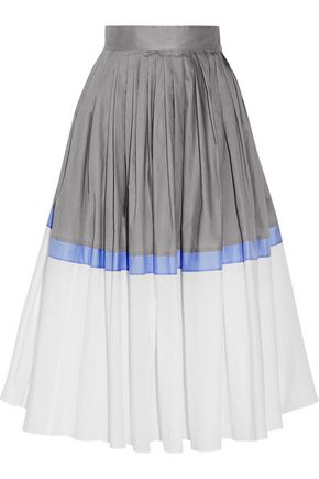 VIKA GAZINSKAYA Pleated color-block cotton-poplin midi skirt