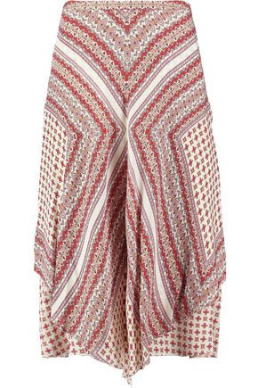 DEREK LAM 10 CROSBY Printed asymmetric silk skirt