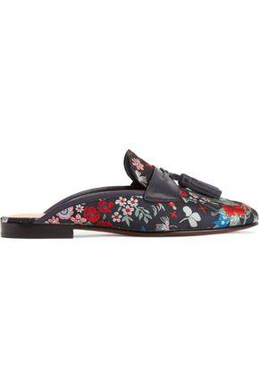 SAM EDELMAN Paris tasseled floral-jacquard slippers