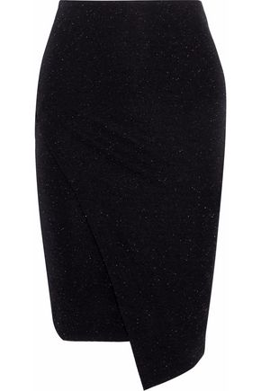 BY MALENE BIRGER Wrap-effect metallic stretch-knit skirt