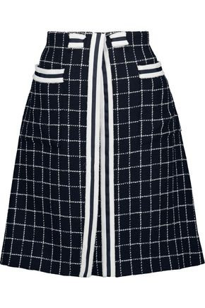 THOM BROWNE Frayed checked wool and cotton-blend mini skirt