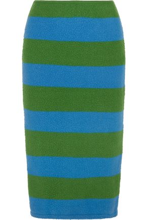 MAX MARA Striped slub stretch wool-blend pencil skirt